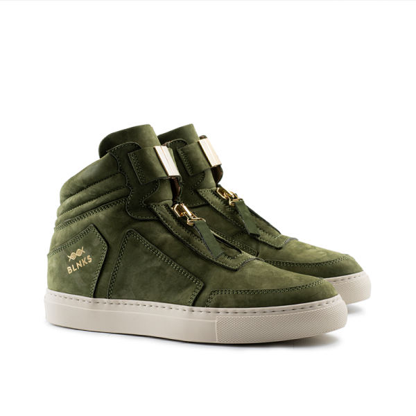 8015 High Top Zipper Sneaker - Green Nubuck